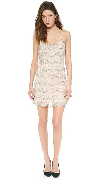 alice + olivia Wes Embellished Scallop Slip Dress