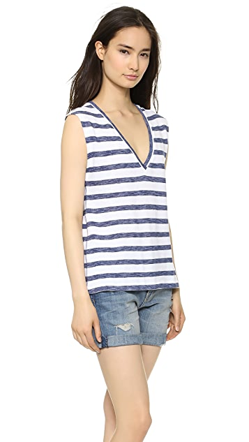 alice + olivia Maui V Neck Stripe Top