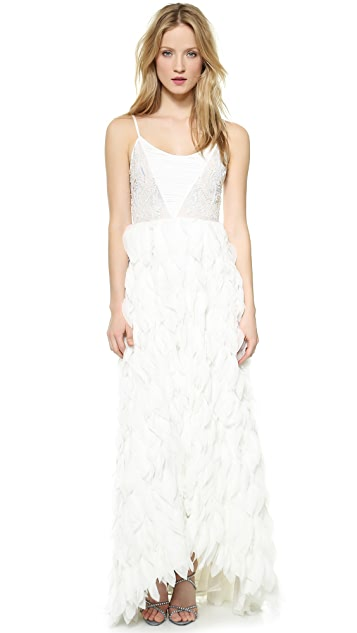alice + olivia Eaddy Faux Feather Gown