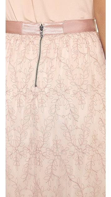alice + olivia Louie Embroidered Maxi Skirt