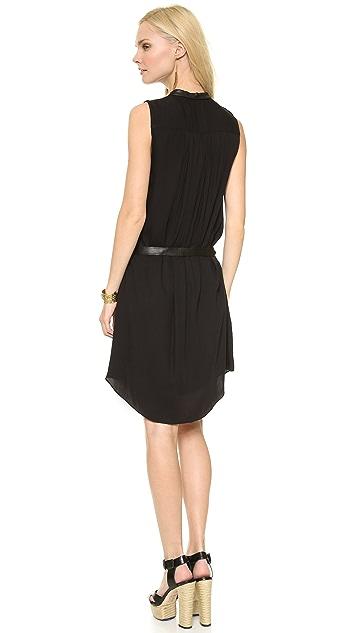 alice + olivia Berk Leather Combo Shirtdress