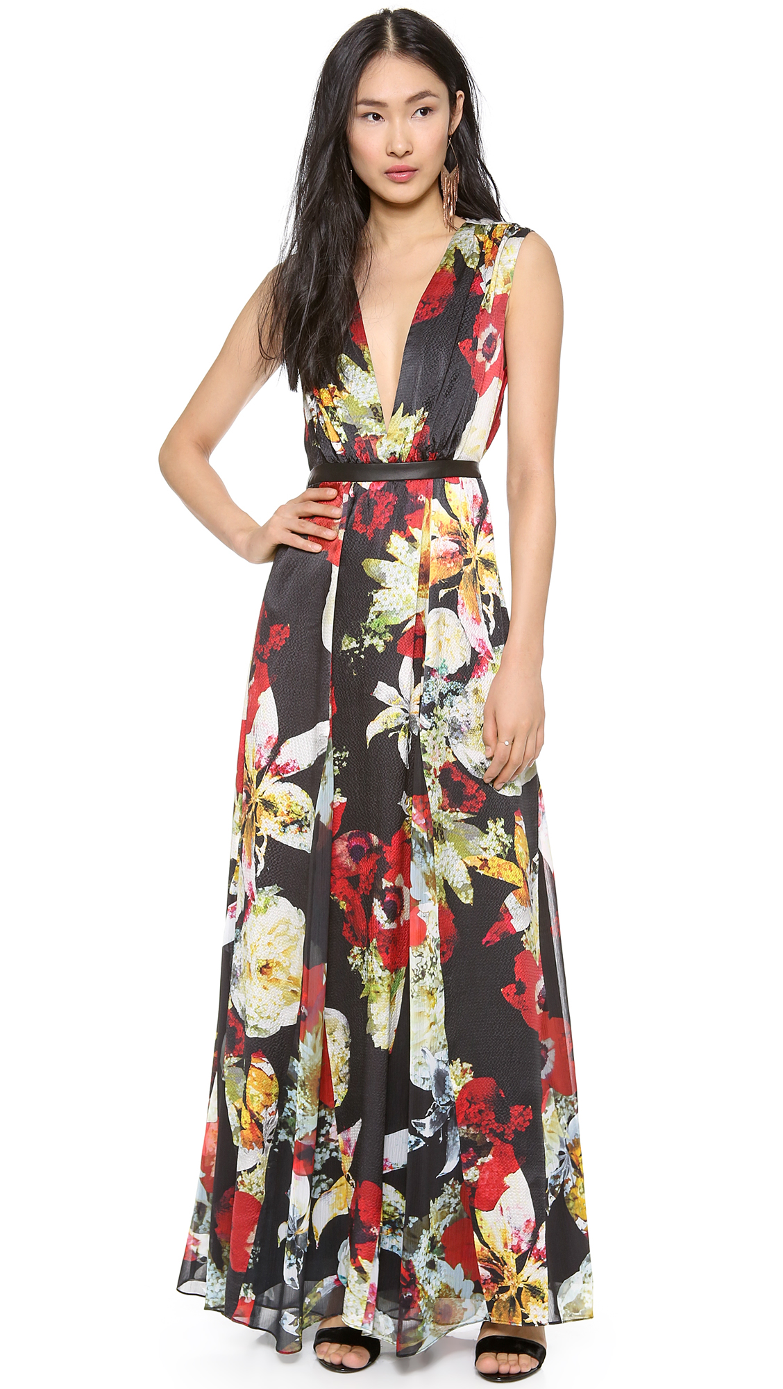 alice   olivia Triss Leather Trim Maxi Dress | SHOPBOP SAVE UP TO ...