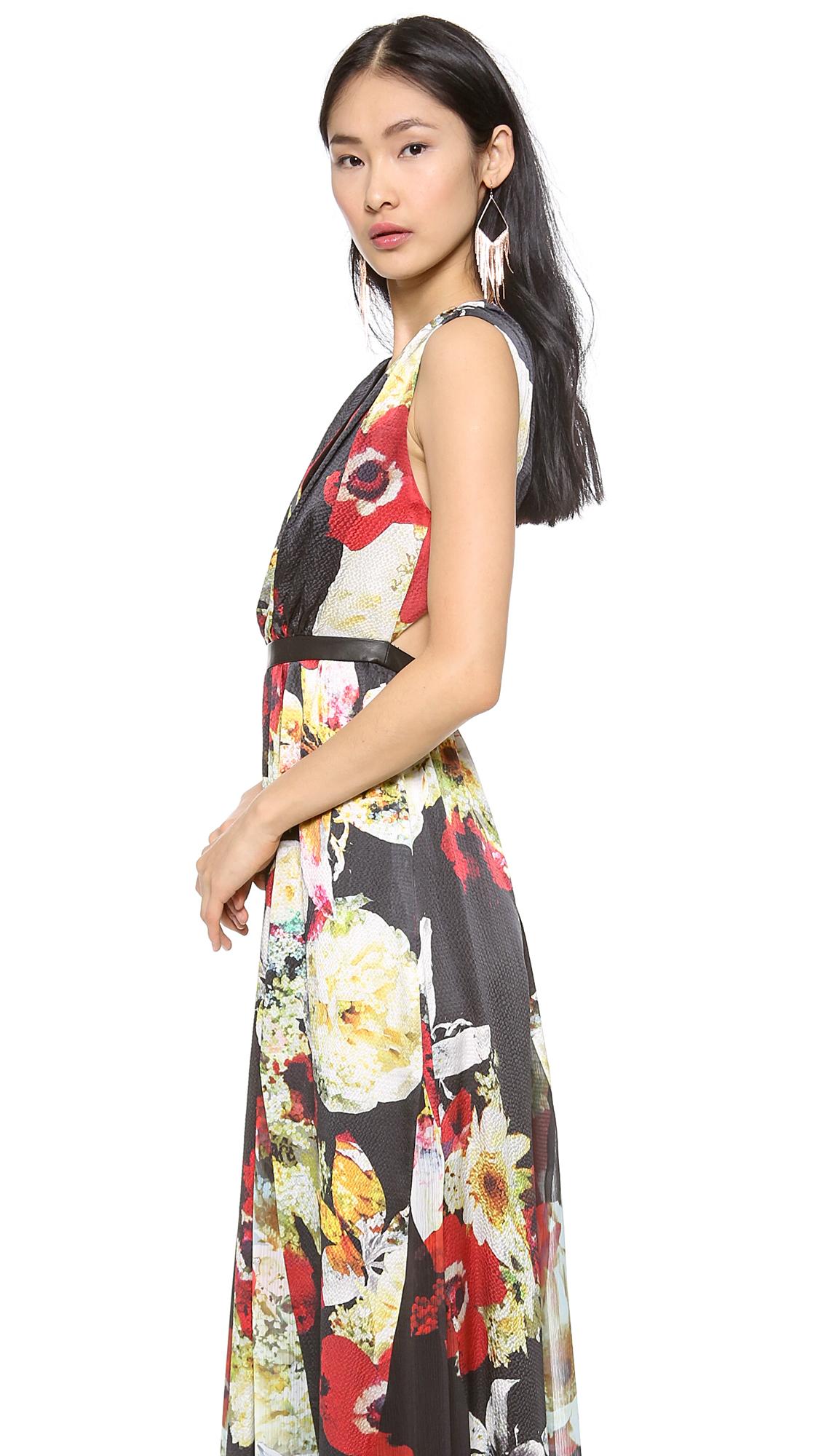 alice + olivia Triss Leather Trim Maxi Dress | SHOPBOP