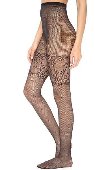 alice + olivia Show Stopper Lace Fishnet Tights