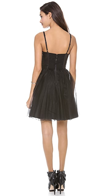 alice + olivia Leather Bustier Party Dress