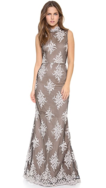 alice + olivia Felice Embroidered Gown