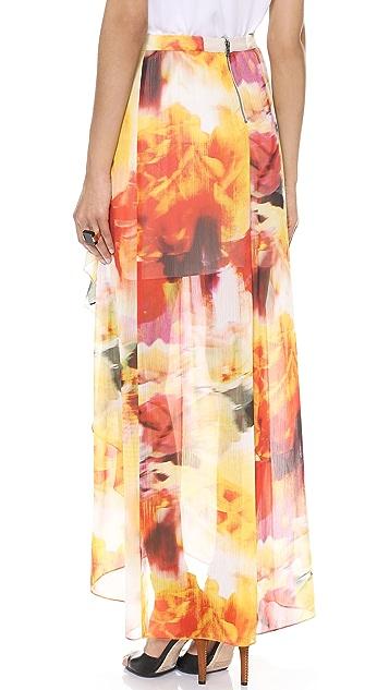 alice + olivia Leah Wrap Slit Maxi Skirt