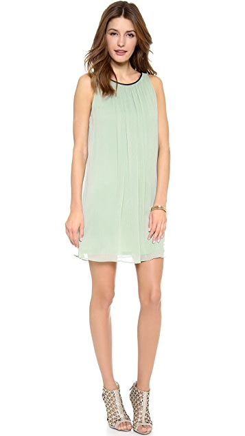 alice + olivia Murda Dress with Leather Trim