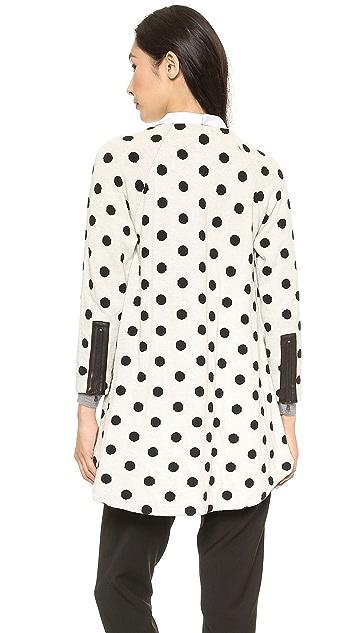 alice + olivia Collarless Polka Dot Coat