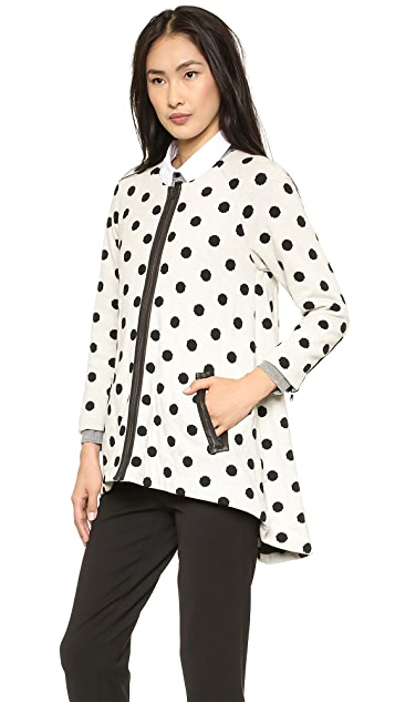 alice + olivia Collarless Polka Dot Coat