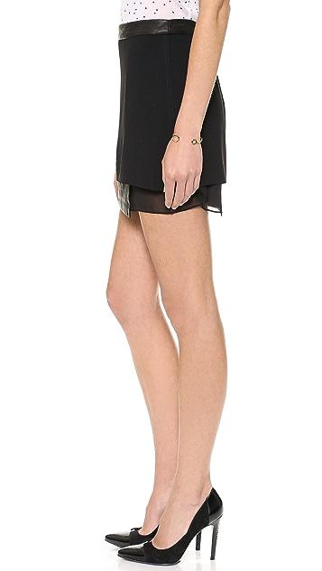 alice + olivia Andra Layered Miniskirt