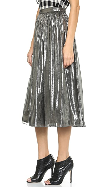 alice + olivia Lizzie Metallic Skirt