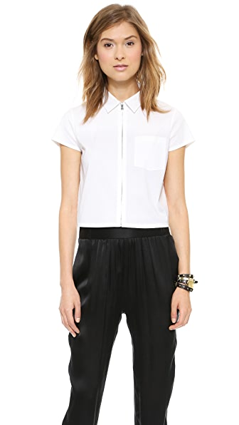 alice + olivia Zip Front Collared Crop Top