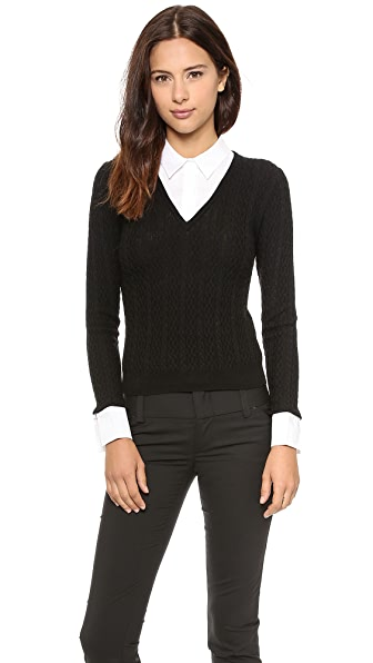 alice + olivia V Neck Collared Sweater