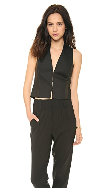 alice + olivia Jacqui Leather Combo Vest