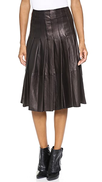 alice + olivia Tatum Leather Pleat Skirt