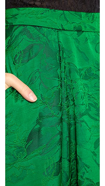 alice + olivia Cohe Asymmetical Center Pleat Skirt