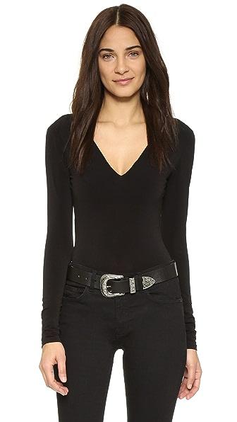 Alice + Olivia Deep V Neck Bodysuit - Black at Shopbop