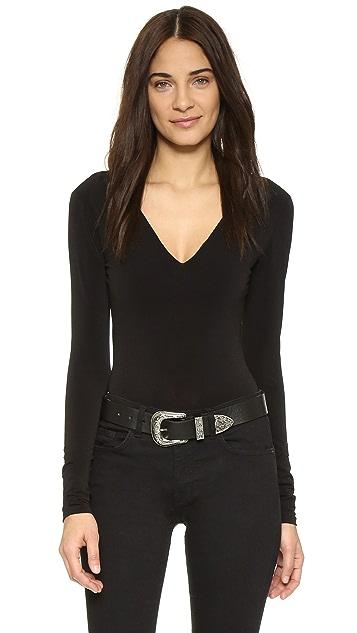 alice + olivia Deep V Neck Bodysuit