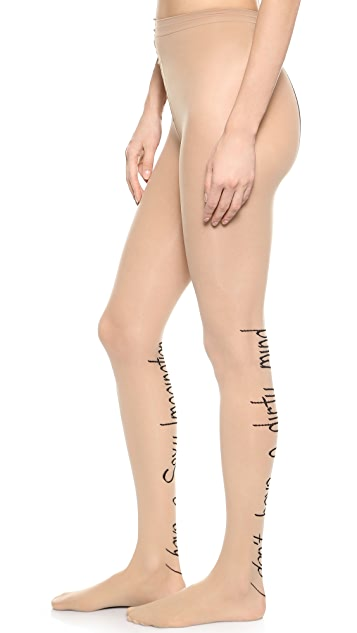 alice + olivia Writing Backseam Tights