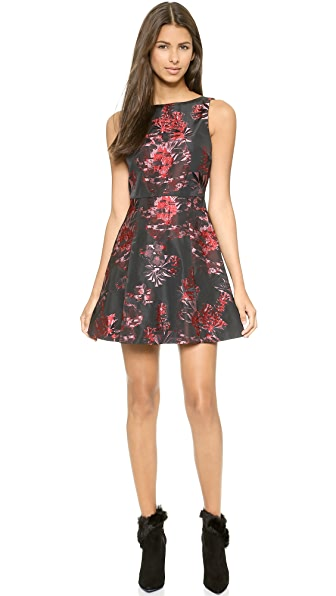 alice + olivia Jorah Box Pleat Floral Dress