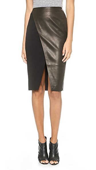 alice + olivia Venty Cross Over Pencil Skirt