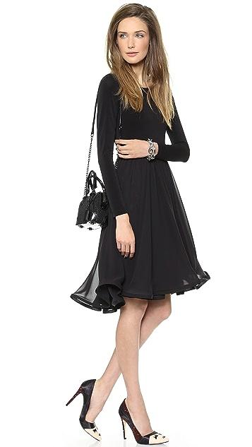 alice + olivia Jaye Long Sleeve Full Skirt Dress