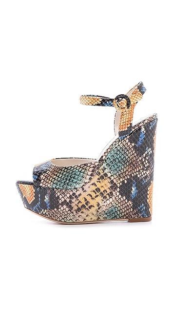 alice + olivia Stella Snake Embossed Wedge Sandals