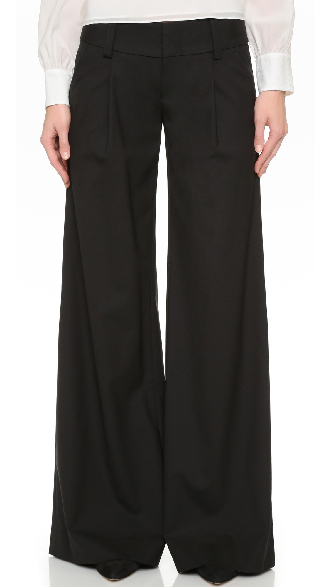 Alice + Olivia Eric Front Pleat Wide Leg Pants - Black at Shopbop