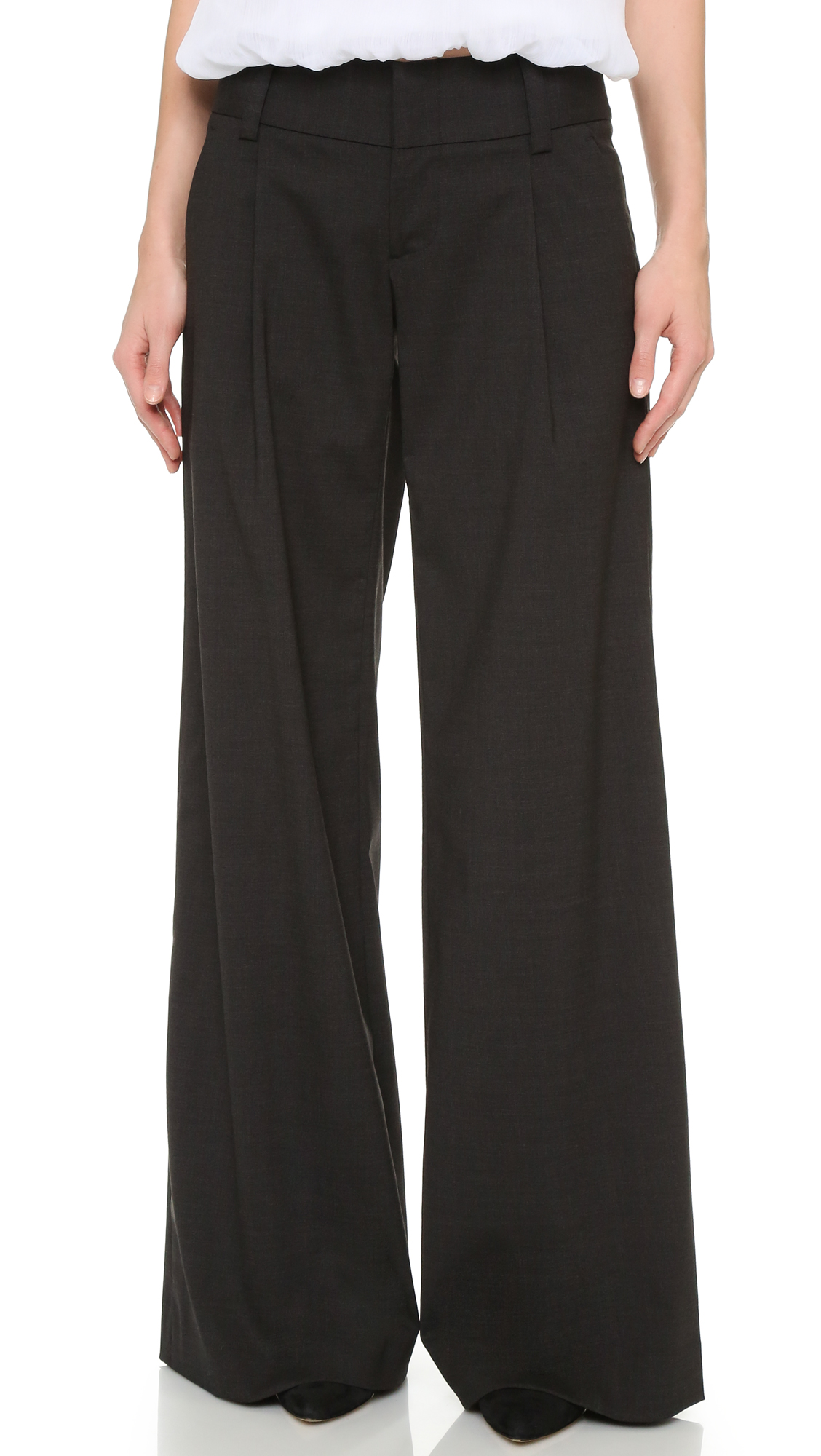 Alice + Olivia Eric Front Pleat Wide Leg Pants - Charcoal at Shopbop