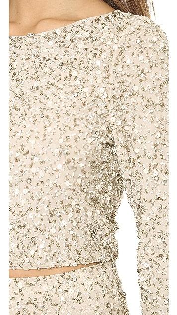 alice + olivia Lacey Embellished Crop Top