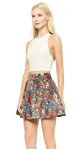 alice + olivia Wolla Lace Back Crop Top