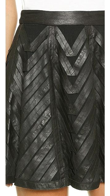 alice + olivia Zoe Leather Ribbon Applique Skirt