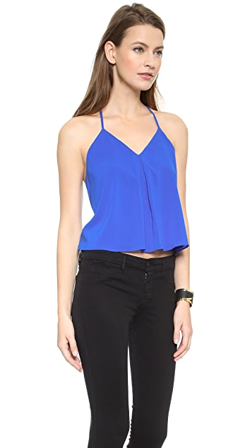 alice + olivia Fina Cropped Lace Back Tank
