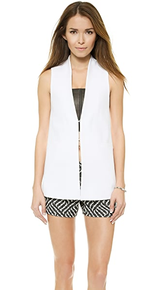 alice + olivia Collarless Long Slim Vest