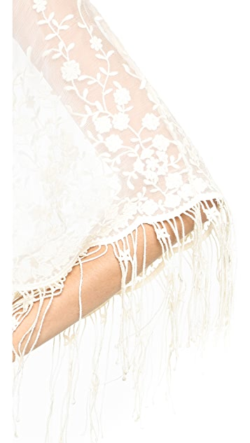 alice + olivia Haveri Embroidered Fringe Cover Up