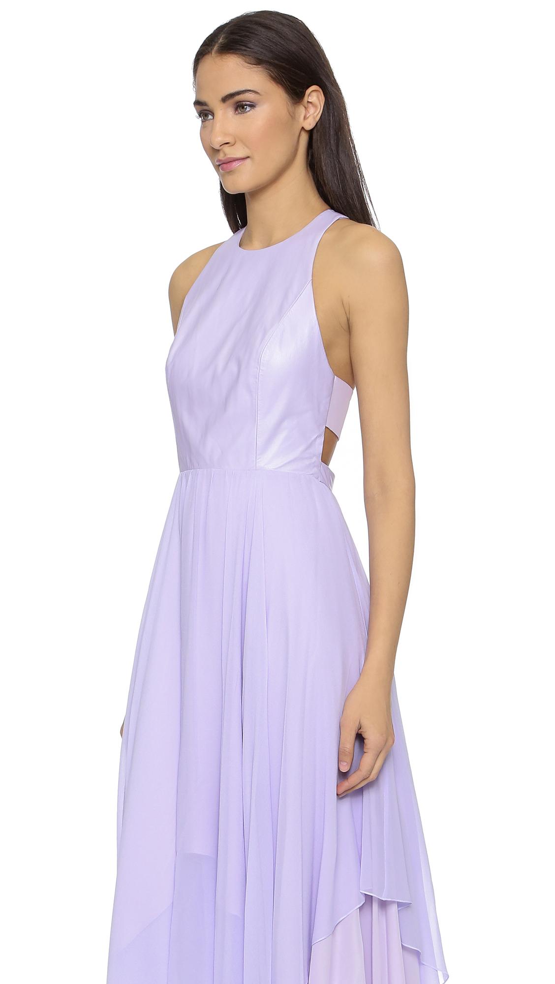 7fde28123e alice + olivia Mai Leather Handkerchief Maxi Dress