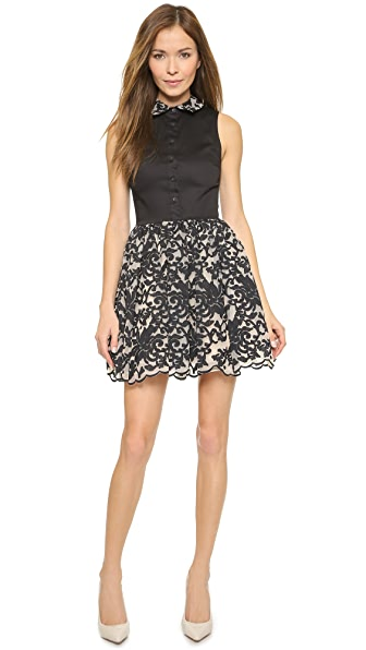 Shop alice + olivia online and buy Alice + Olivia Avery Collared Pouf Dress Black/Cream dresses online