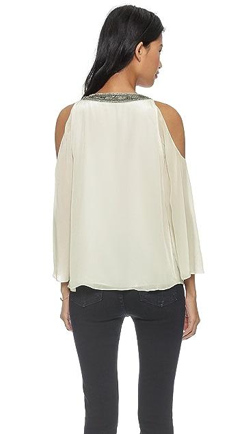 alice + olivia Rivera Beaded Open Shoulder Top