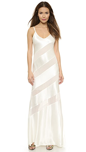 Alice + Olivia Gene Striped Maxi Dress - White/Nude