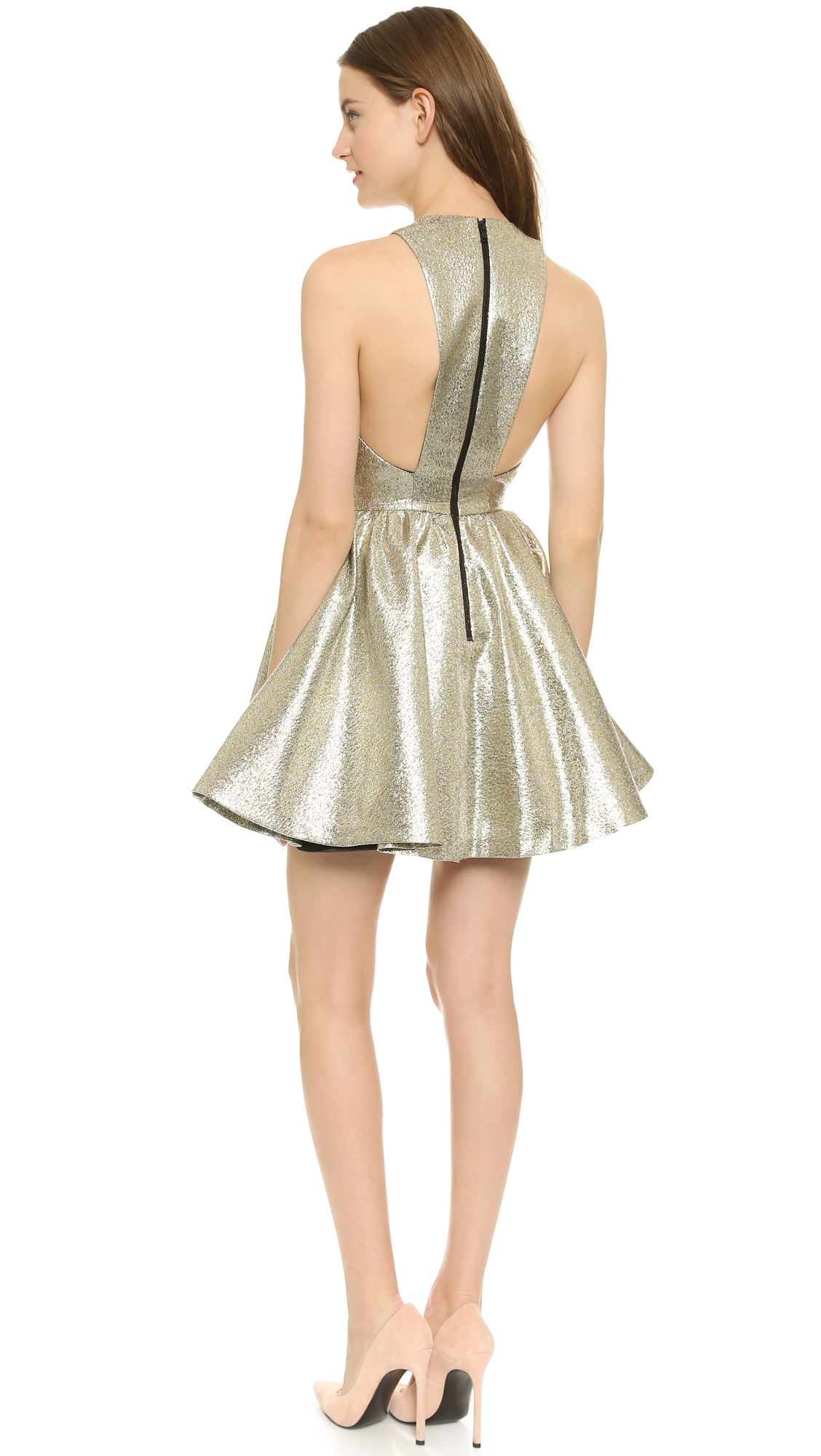 alice olivia tevin metallic party dress shopbop