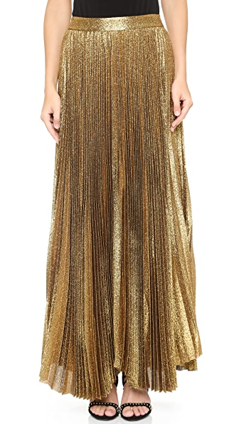 Alice + Olivia Katz Sunburst Pleated Maxi Skirt - Gold at Shopbop