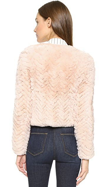 alice + olivia Marlene Zigzag Fur Coat