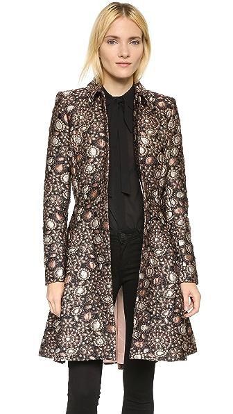 alice + olivia Veronika Pleated Flare Coat