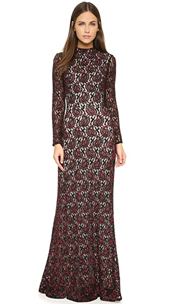 alice + olivia Cori Embellished Cutout Gown