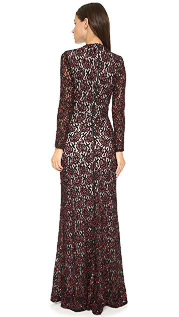 alice + olivia Cori Embellished Cutout Gown