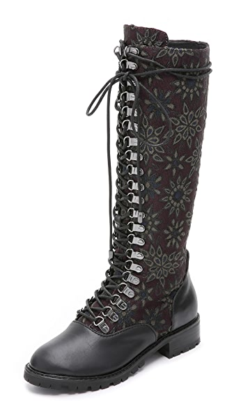 Alice + Olivia Terra Jacquard Lace Up Boots - Plum/Black