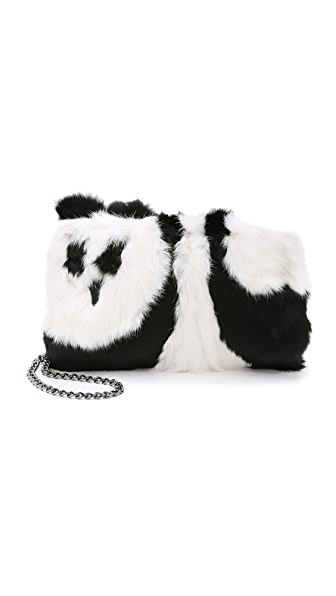 Alice + Olivia Fur Muff Bag - Black/White