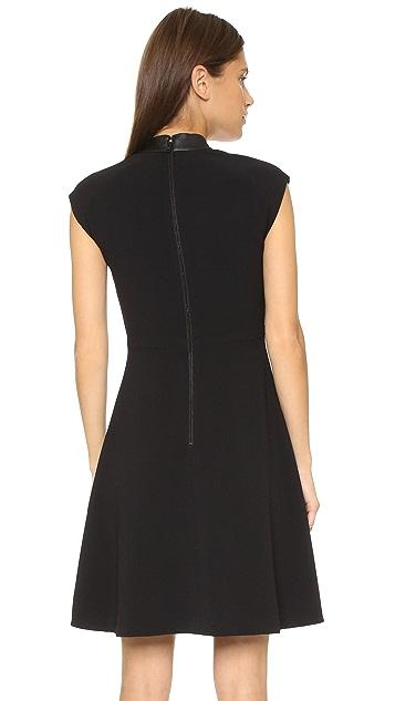 alice + olivia Ellis Shirtdress with Leather Collar