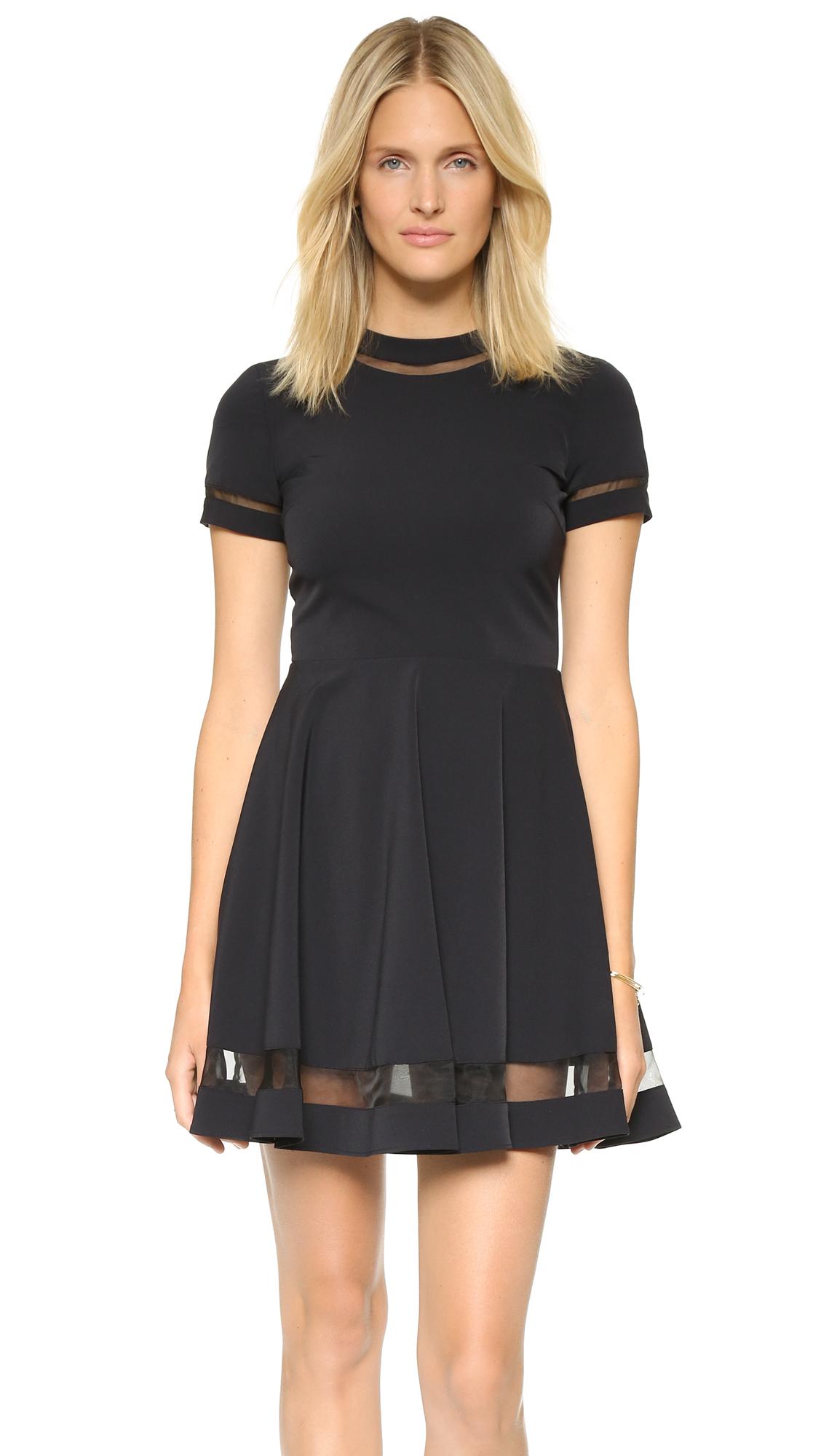 Alice + Olivia Frances Mini Flared Dress - Black at Shopbop